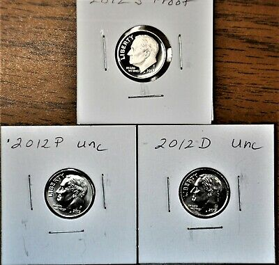 2012 P D S Roosevelt Dime -Proof and Uncirculated From US Mint Sets