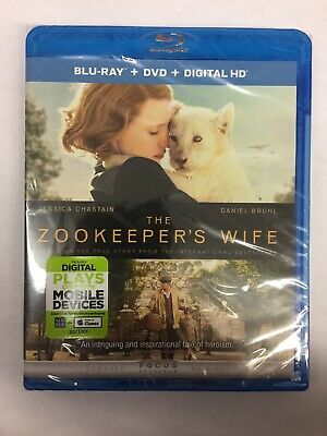 The Zookeeper's Wife,(Blu Ray + DVD + Digital HD)**New, Free Shipping **