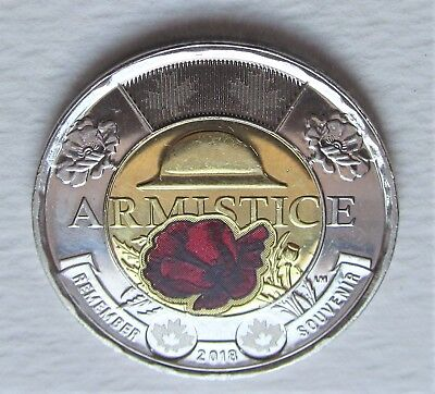 ONE ( 1 ) CANADA 2018 ARMISTICE 2 DOLLAR COLOURED TOONIE - combined shipping