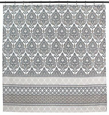 Charcoal Grey Tan White Fabric Shower Curtain Floral Damask With