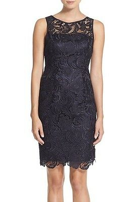 0a990d98ef4e NWT! $198 Adrianna Papell Illusion Bodice Lace Sheath Dress | SZ 4 | A012
