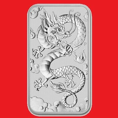 2019 1oz Silver Dragon (rectangular)  Bullion Coin Bar in Perth Mint Capsule