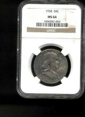 1958 50C MS64 NGC Silver Franklin Half Dollar Uncirculated Details Toned #2004