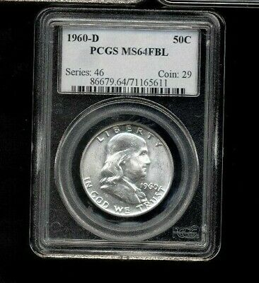 1960-D PCGS MS64FBL 50C Silver Franklin Half Dollar Uncirculated Details #5611