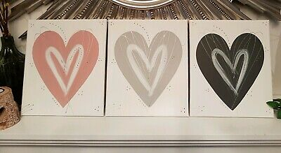 Blush pink grey silver love Heart wall art picture canvas bedroom hall kitchen .
