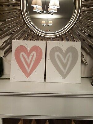 Blush pink grey silver love heart wall art picture canvas bedroom hall kitchen