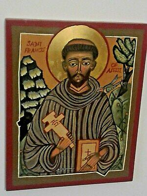 Russian Icon, Saint Francis of Assisi,  Hand painted Orthodox, Religious Icon
