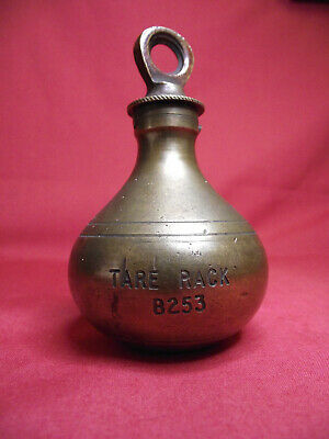 Antique Vintage Pear Balance Hanging Lead Brass Scale Weight TARE RACK B253