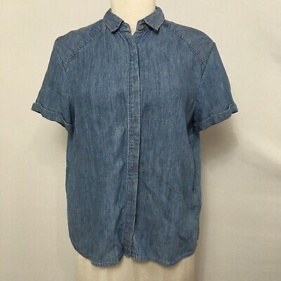 7f791eb529e Alice + Olivia sz L Chambray Blouse Button Up Short Sleeve Collared Women's  Top