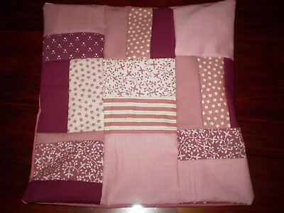 Small Patchwork Cushion Cover - Pink - J