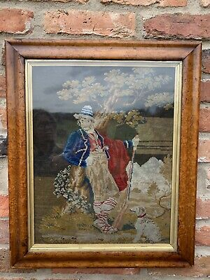Antique 19th Century Wool Work Embroidery Hand Woven Tapestry Pastoral Man Dog