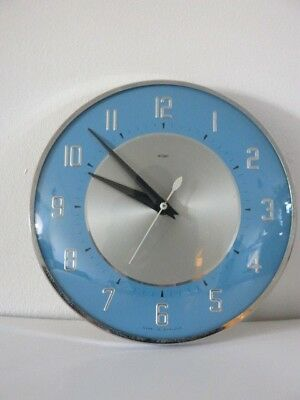 Vintage Mid Century 50's 60s Blue & Chrome Metamec Wall Clock