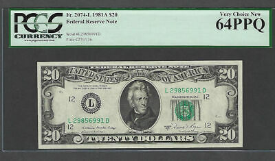 1981-A $20 Federal Reserve Note PCGS Very Choice New 64 PPQ