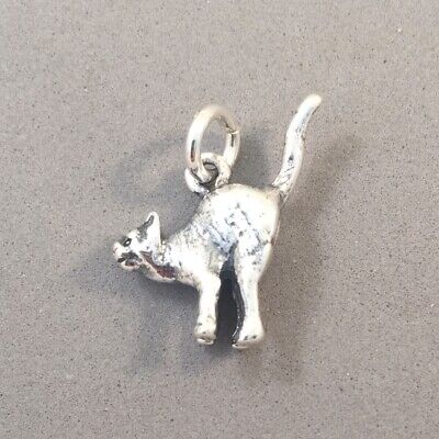 Sterling Silver 3D Halloween Hissing Scared Pet Cat Dangle Charm Bead For Bead Charm Bracelet