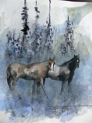 Horses in Meadow Original Acrylic Painting Framed Glazed Signed Shirley Hartley