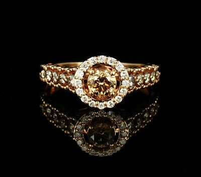 30701c925 LEVIAN SIGNED FANCY NATURAL 5/8ctw CHOCOLATE DIAMOND 14K STRAWBERRY GOLD  RING