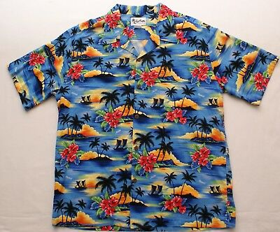 7ceccc80 Authentic Howie Made in Hawaii USA Blue Floral Palm Tree Hawaiian Shirt,  2XL XXL