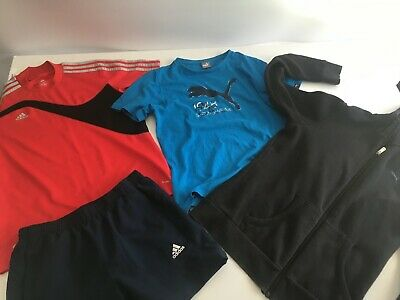 Boys size 12 ADIDAS, PUMA Bulk lot t-shirt, hooded jumper and running shorts