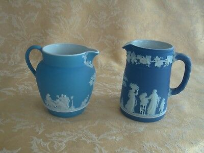 "Antique/vintage Wedgwood ""dipped"" White On Blue Jasperware Pitchers 2 Choices"