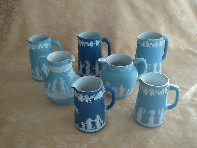 "Antique Wedgwood ""dipped"" White On Blue Jasperware Pitchers 7 Choices"