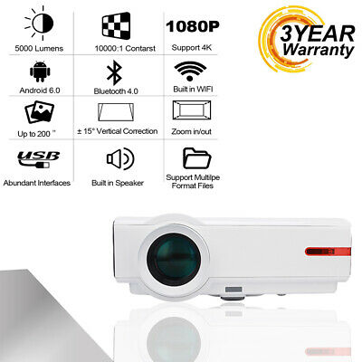 AU WIFI Android 4K Projector 5000 Lumen 3D Home Theater LED HDIM Video Projector