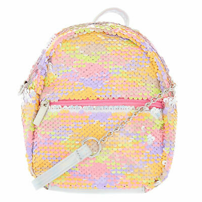 32342f3cab Claire s Girl s Reversible Sequin Neon Mini Backpack Crossbody Bag Orange