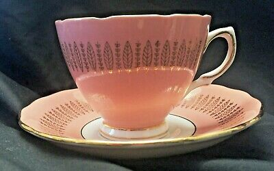 Colclough China Tea Cup and Saucer Set Excellent Condition Unique Pink Pattern