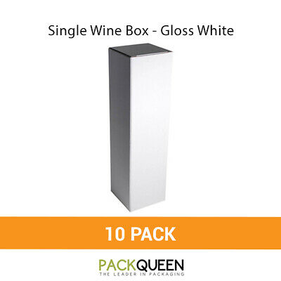 10 x Single Wine Box - Gloss White Wine & Party Favor Gift Boxes