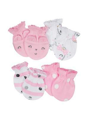 bc22ef1befe Gerber Baby Girl s 4 Pack Organic Cotton Mittens Size 0-3 Months NEW  Adorable