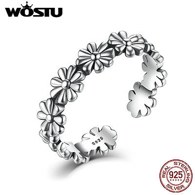 Wostu shine Ancient S925 Sterling Silver open Ring with wreath Jewelry For Women