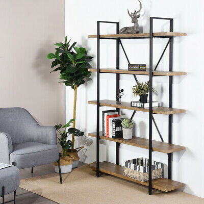 Metal Bookcase Wood Shelves Storage Bookshelf Ladder Shelf Bakers Rack For Kids