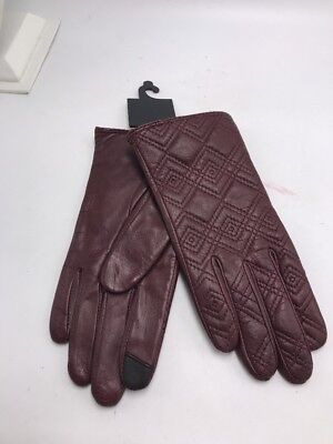 NWT Womens  echo Gloves Leather  lined cashmere blend wine   size s BB15