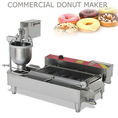 Commercial Electric Automatic Doughnut Donut Machine Steel Donut Maker W/ 3 Mold