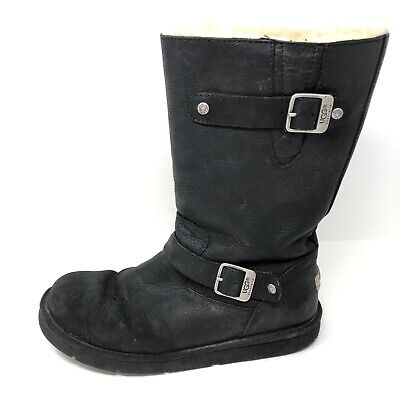 51ddc7c9471 UGG BLACK LEATHER Lynnea Shearling Booties Boots! 9 $265 - $49.99 ...
