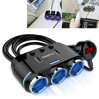 12V 3 Way Car Cigarette Lighter Socket Splitter Dual USB In Car Charger Adapter