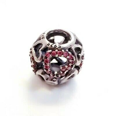Authentic Pandora Silver FALLING IN LOVE Pave Heart Charm #791424CZS#