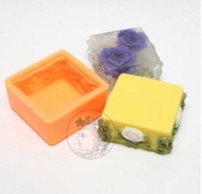 (Silicone Mould) Rose border rectangle Silicone soap Mould plaster mold