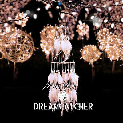 LED Star Light Dream Catcher with White Feather Pearl Dreamcatcher Night Light