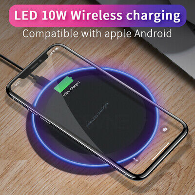 Wireless Charger 10W Qi LED Charging Pad for Apple iPhone XS Max/XR/8 S10/S9/S8