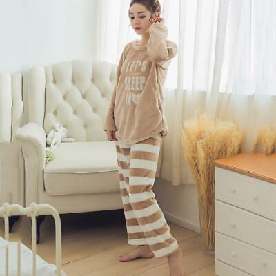 Women Letters Pattern Soft Autumn Warm Flannel Pajamas Set Winter Sleepwear HD