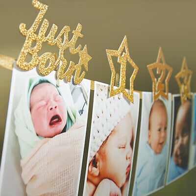 2.2M Glitter Babys First Birthday Banner Photo Banners Garland with Clips