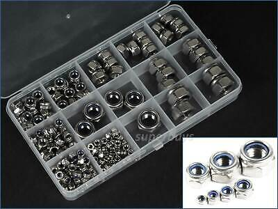170pcs M3 - M12 Stainless Steel Hex Nylon Lock Nuts Threaded Fasteners Kit Set