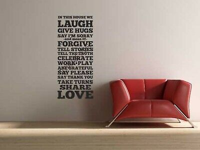 IN THIS HOUSE family rules vinyl wall sticker saying home subway format decal