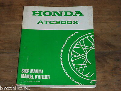 Manuel Revue Technique D Atelier Honda Atc 200 X 1986-1987 Shop Manual Atc200X