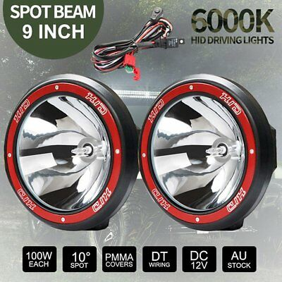 """2x 9"""" Inch 12V 100W Hid Driving Lights Xenon Spotlight Offroad 4Wd Truck red AU"""