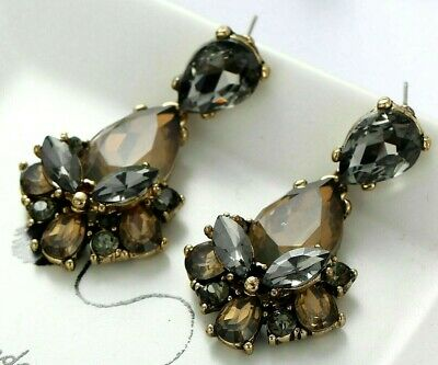 Drop Earrings Trionfo rhinestone Smoked Various Nuance and cuts x Hole