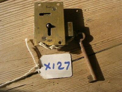 Antique Brass Cabinet Lock Keep And Key  (X127)