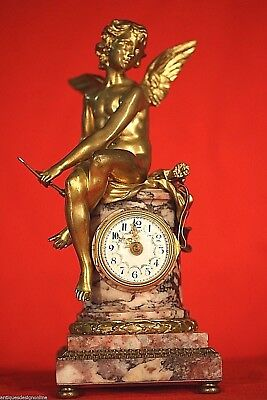 Antique French Louis gilt bronze clock gilded ormolu statue marble1870