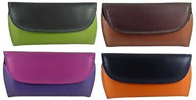 Glasses Spectacle Case Pouch Two Tone Real Leather  4 Colours