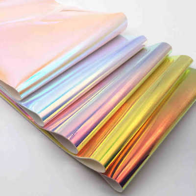 Iridescent Pastel Candy Color Hologram Mirror Leather Fabric Vinyl Bow Crafts